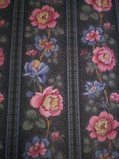 Vintage Pink & Blue Flowers & Stripes on Dark Green by Mokena Mills OF105