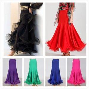 Women Ladies Latin Salsa Flamenco Ballroom Dance Modern Tango Waltz Skirt Dress