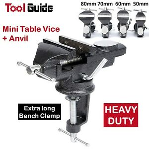 50/60/70/80 mm HD 360º Swivel Portable Table Bench Vice Clamp Mini Vise Anvil