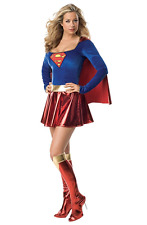 NWT Women's Supergirl Dress Costume Set Sz Medium Super Hero Red Blue Metallic