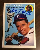 ANDY PAFKO 1954 TOPPS ARCHIVES AUTOGRAPHED SIGNED AUTO BASEBALL CARD 79 BRAVES