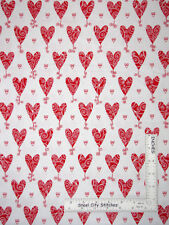 Valentine Hearts Cardiac White Cotton Fabric QT Kick Heart Disease By The Yard