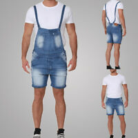 Fashion Men Casual Shorts Pants Denim Jumpsuit Overalls Dungarees Trousers LO