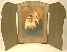 WEDDING COUPLE PHOTO IN FOLDING FRAME ROSAAS CIRCA 1920'S