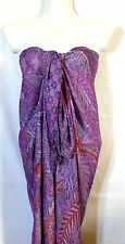 Paréo Drap de Plage Bain Mer Sarong Beach Cover Up Wrap Skirt violet purple