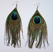 New Fashion Natural Pearl & Peacock Feather Earrings Pair