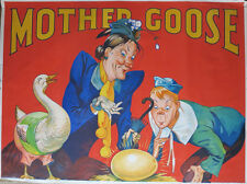 VINTAGE c. 1930 PANTOMIME MOTHER GOOSE POSTER TAYLORS OF WOMBWELL LITHOGRAPH