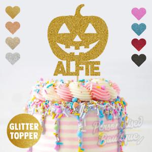 Personalised Custom Glitter Cake Topper Pumpkin Scary Halloween Birthday Cake