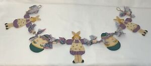 Hand Painted Wood Easter Egg & Bunny Rabbit Garland Hanging Banner Decor Bunting