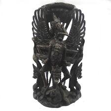 Antike Skulptur handgeschnitzt Indonesien Tänzerin Barong Löwe Schildkröte 47cm