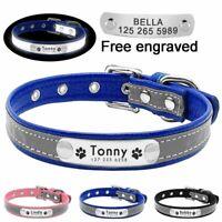 Reflective Personalized Dog Collar Leather Custom Engraved Name Small Medium Dog