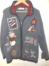 New listing Country Christmas Sweater sz M Stitch Sampler Plaid Patches Flag snowman Angora
