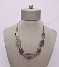 Multi Colored OOAK Vtg Cut & Polished Moss & Other Agate Natural Stone Necklace