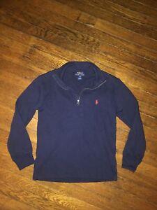 Polo Ralph Lauren Navy Partial Zip Knit Pullover Boys Size S (8)