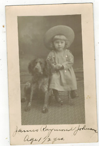 RPPC Real Photo Postcard Cute Little Boy Poses With Dog