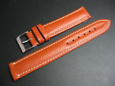 18 mm Gold Brown Pumpkin Leather Contrast Stitching Watch Strap band chronograph