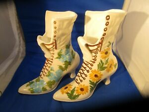 2 Vintage Ceramic Victorian Painted Flower Lace Up Boot Shoe Vase / Planters
