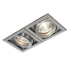 Saxby Xeno Indoor Recessed Tilt Light Aluminium Twin 2x50W GU10 Reflector