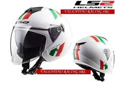 CASCO JET MOTO LS2 OF573 TWISTER PLANE  WHITE BLACK RED DOPPIA VISIERA L 57 CM