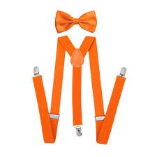 Men's Braces Suspenders Set Classic Pre-tied Bow Tie Elastic Y-Back Solid Color