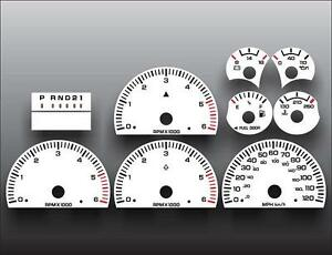 1998-2001 Dodge Ram GAS Dash Cluster White Face Gauges 98-01