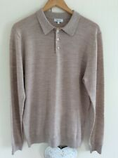 Mens Reiss Polo Neck Jumper Beige Fine Wool Large