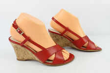 high heel sandals Wedge AEROSOLES Red Leather T 37,5 VERY GOOD CONDITION