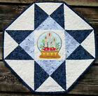 Handcrafted Quilted Table Runner Topper- CHRISTMAS SNOWGLOBE CANDLES POINSETTIA