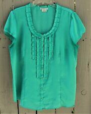 VanHusen Womens Turquoise Green, Cap Sleeve, Button Front, XL, Knit Top. EUC.