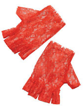 Ladies Womans Red Lace Short Fingerless Gloves Burlesque Flapper 20s 30s 80s New