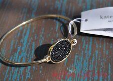 Kate Spade Bangle Bracelet Do Wonders Pave Disc Thin Black Gold Tone New York