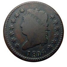 Large cent/penny 1814 plain 4 beautiful original