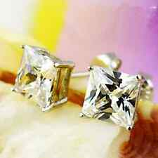 Fashion Brilliant 9K Solid White Gold Filled Square Men Stud Earring Beauty Sale
