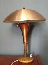 Vintage Cobre y efecto de madera de teca Seta Lámpara de Mesa Retro
