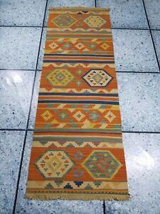 Kilim Vintage Hand Made Traditional Oriental Multi Color Kilim Runner 200x72cms
