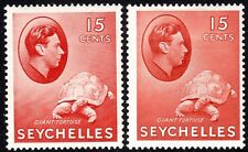 Seychelles1938 brown-carmine 15c brown-red 15c  multi-script mint SG139a/139ab