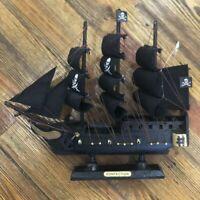 Wooden Sailboat Model Caribbean Black Pearl Miniature Boat Display Children Toy