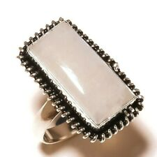 Shiny Rainbow Moonstone Gemstone Silver Overlay Handmade White Stone Ring-7.75
