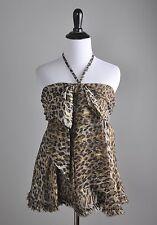 D&G DOLCE & GABBANA $295 Silk Subtle Sparkle Leopard Halter Top Size 42