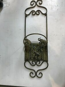 Rare Wrought Iron Wall Hanging - Elephants and Palm Trees