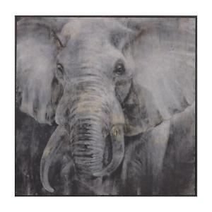 Painting Elephant Print Artwork Wall Decor Wood Frame 100x4x100cm