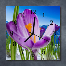 Glass Wall Clock Kitchen Clocks 30x30 cm silent Spring Purple