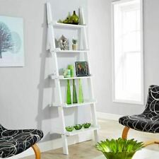 Home Source A138white Ladder Shelving Unit 5 Tier Display Stand - Bookcase Shelf