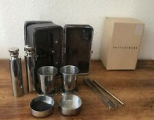 Pottery Barn Mini Travel Bar Set! Leather Case! Flasks, Cups, Tools ! New!