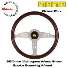 MOMO GRAND PRIX - 350MM MAHOGANY WOOD SILVER SPOKE STEERING WHEEL