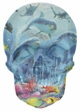 Gothic Skull Double Exposure Dolphins Under Sea View Wall Sticker Decal 1126