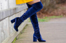 Zara Navy Blue Velvet Over The Knee High Heel Boots Size 37,38,39,40,41