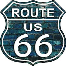"Route 66 Blue Brick Wall 11"" Highway Shield Metal Sign Novelty Retro Home Decor"