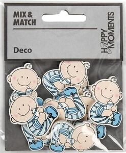 Baby Blue Painted Wooden Embellishments, Card Making or Scrapbooking.10 pcs