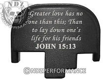 For Smith Wesson S&W M&P 9 40 45 Rear Slide Back Plate Blk Bible John 15:13